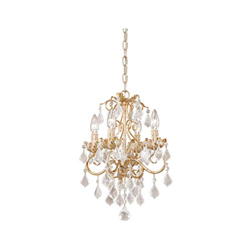 """Mini Chandeliers 4 Light Fixtures with Gilded White Gold Finish Steel Material Candelabra 13"""" 240 Watts"""