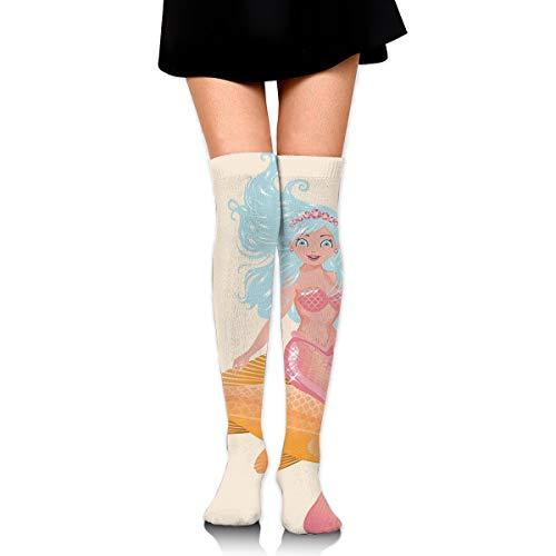 - HFJDLSK Men & Women Knee High Compression Socks - Smiling Little Mermaid Girl and Golden Fish Childhood Fantasy Crown Princess Pattern - Perfect for Nurses, Runners, Athletes, Diabetics