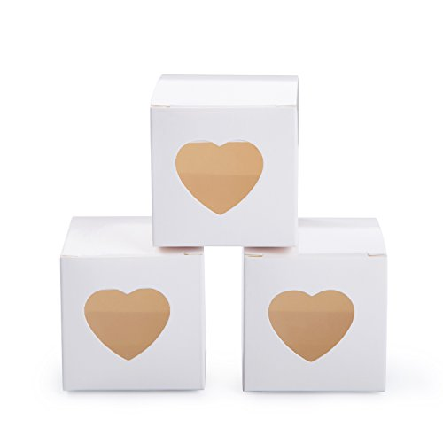 MOWO White Gift Boxes 2x2x2 inch with Clear Plastic Window for Candy Treat Gift Wrap Box Party Favor 50pc -