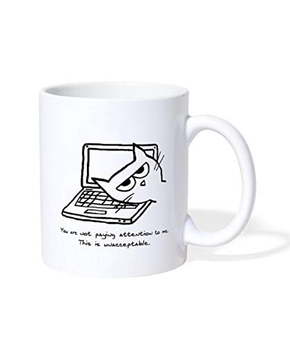 Spreadshirt Angry Cat Turn Off Computer Mug, white from Spreadshirt