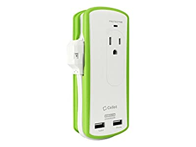 Cellet Compact 2 Outlet Surge Protector + 10 Watt (2.1 Amp) Dual USB Port Travel Charger - Retail Packaging