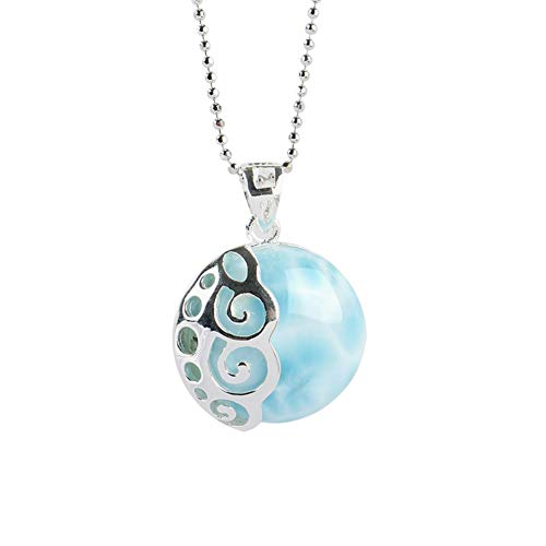 """Sterling Silver Larimar Pendant Blue Natural Genuine Fashion Gemstones Handmade Larimar Jewelry Classic Necklace with 18"""" Chain for Women and Girl Mother Day"""