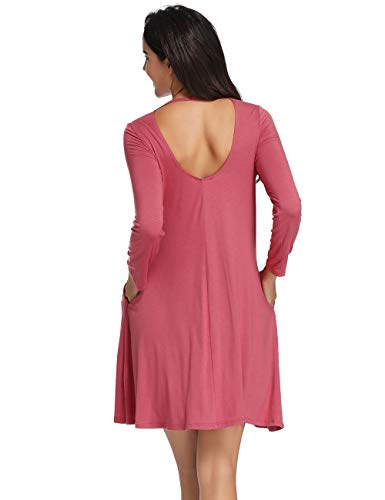 Bean with Casual Plain Azalosie T Dress Sleeve Short Long Shift Swing Dress Dress Pink Pockets Loose Dress Shirt CYRTq