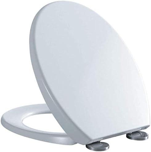 S優雅な便座ユニバーサル便座V形状ドロップミュート抗菌尿素ホルムアルデヒド樹脂トップマウントトイレ蓋大人用、ホワイト