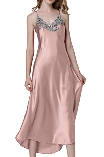 ASHER FASHION Asherbaby Women's Nightdress Lace Satin Nightgowns Long Chemise Sleepwear (US L=Asian Tag XL, Pink)