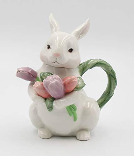 Fine Ceramic Bunny Rabbit with Tulips Flower Teapot, 7-1/4