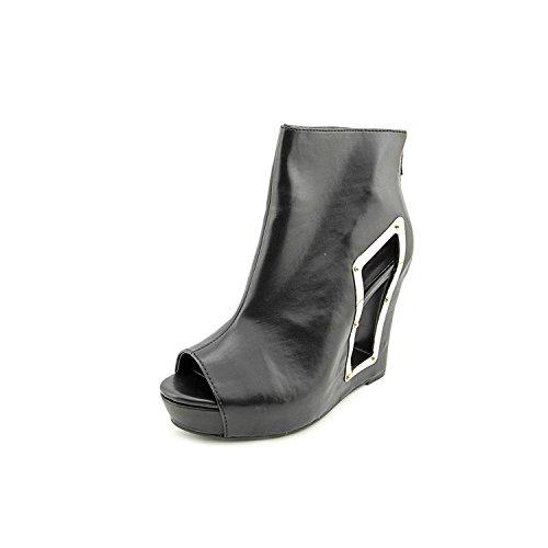 BCBGeneration Nene Women's Cutout Wedge Open Toe Booties, Black, Size 5.0