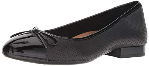 Aerosoles Women's Outrun Ballet Flat, Black Leather, 8.5 W US