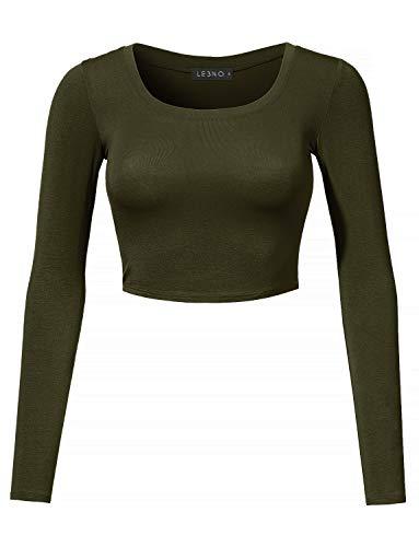 LE3NO Womens Lightweight Long Sleeve Scoop Neck Crop Top