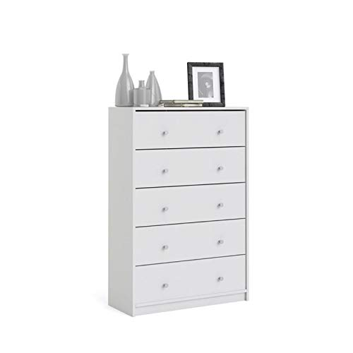 Levan Home Modern White Tall 5 Drawer Chest/Bedroom Dresser by Levan Home
