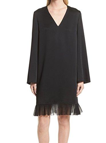 Elizabeth and James Women's Shift Ruffle V-Neck Dress Black (Elizabeth And James Dresses The Black Dress)