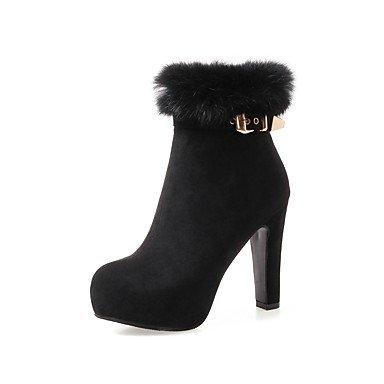 Heart&M Damen Schuhe Beflockung Herbst Winter Komfort Stiefel Blockabsatz Runde Zehe Schnalle Reißverschluss Für Schwarz Grau Rot red