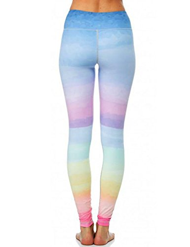 Pink Peach Women's Full Length Rainbow Gym Yoga Leggings Gradient Color Sports Tights