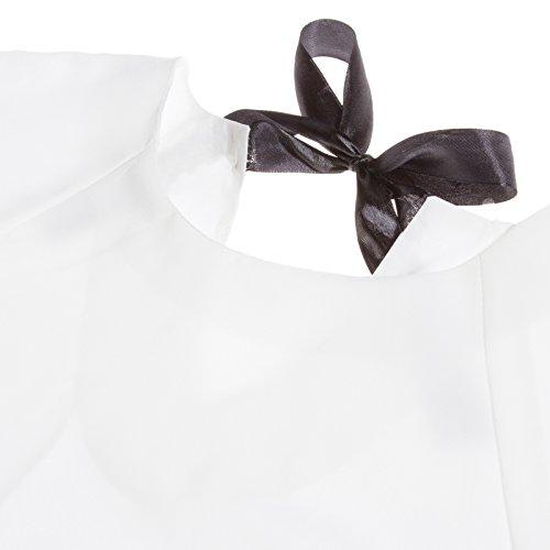 Beauty7 Elegante 3/4 Mangas Cuello Redondo Negro / Blanco Blusas Mujer Camisetas Verano Formales Casual Parte Superior Tops Tee Camisa T Shirt Ocasionales Blanco