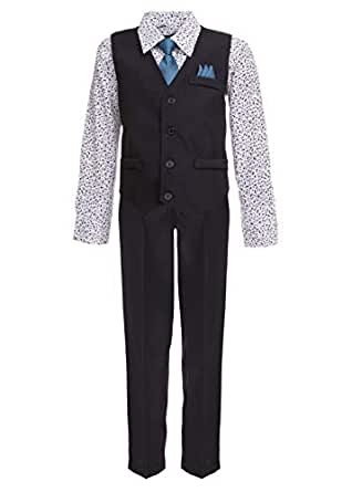 Vittorino Boys 4 Piece Holiday Suit Set with Vest Shirt Tie Pants and Hankerchief, Black/Fashion Floral, 2T