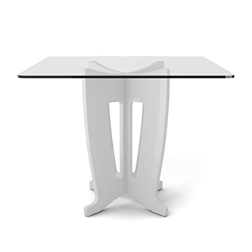 [Manhattan Comfort Jane Collection Modern Square Tempered Glass 4 Person Dining Table with X Leg Design, White] (Rectangular Pedestal Dining Table)