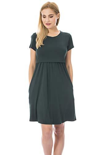 Bearsland Women's Short Sleeves Maternity Dress Nursing Breastfeeding Dresses with Pockets,Green,m