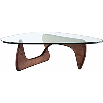 EMODERN FURNITURE EMod   Noguchi Coffee Table Triangle Glass Top Walnut Base