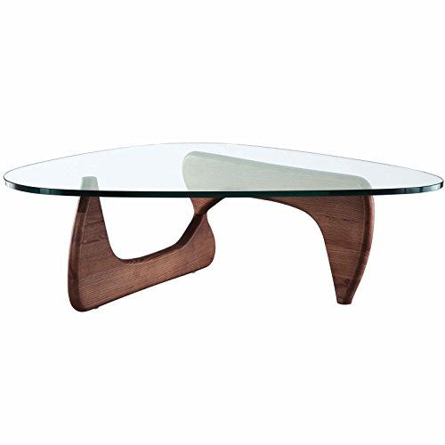 Cheap EMODERN FURNITURE eMod – Noguchi Coffee Table Triangle Glass Top Walnut Base