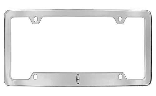 (Lincoln Logo Chrome Plated Metal Bottom Engraved License Plate Frame Holder)