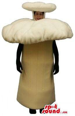 Costumes Halloween Canada - Large Forest Beige Mushroom Plush Mascot SpotSound US Or Halloween Costume