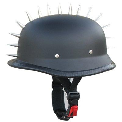 Low Profile German Style Half Face Helmet Novelty Spikes N118 Flat Black (Large)