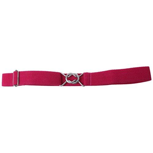 (ForHe Children Boys Girls Wide Belt Alloy Belt Buckle Elastic Waistband Easy To Use (Rose Red))