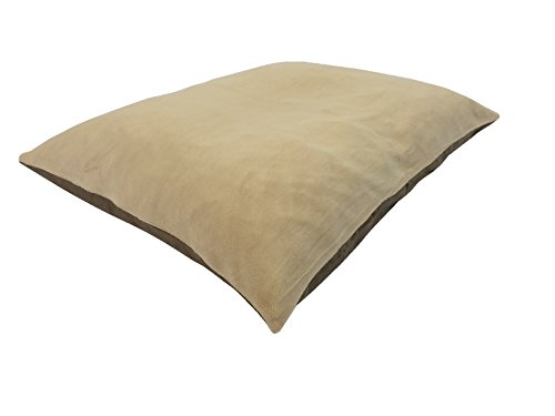 36''x29'' Medium Size MicroCushion High Density Memory Foam Soft PolyFiber Waterproof Pet Pillow Bed with Removable Zippered Luxurious Fleece Beige / Brown Suede Cover for Small to Medium Dogs by American Comfort Warehouse