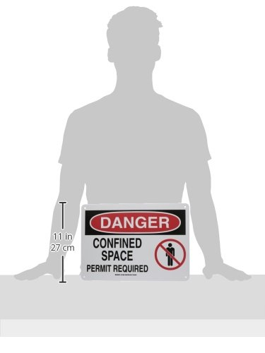 Brady 131690 Confined Space Signs Black//Red//White 10 Height x 14 Width