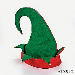 Set of 3 Felt Elf Hats with Jingle Bells (Embellished Felt)