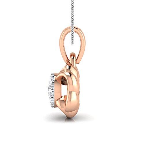 14K Or rose 0.09CT TW Round-cut-diamond (IJ | SI) Pendentif