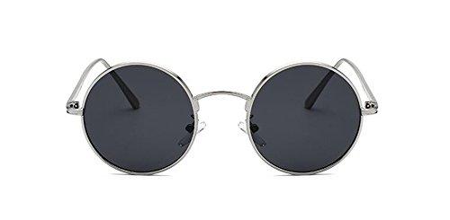 polarisées rond style métallique Frêne lunettes inspirées cercle de Noir Lennon retro en vintage soleil du qX7AXE
