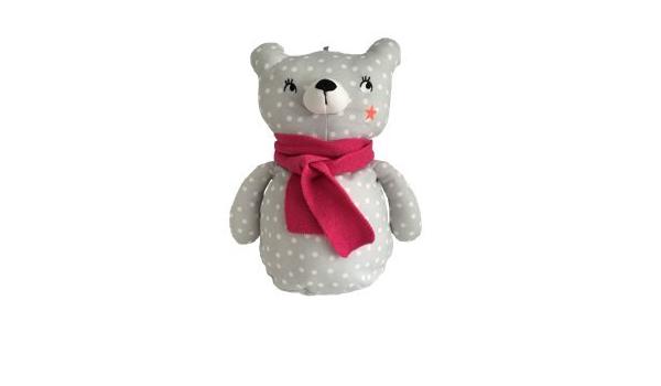 Bolsa de pijama ETAM suave hipoalergénico suave oso pijama muñeca gris blanco lunares fucsia, 8 x 14 x 6 cm (LxHxW)