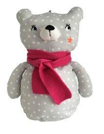 Bolsa de pijama ETAM suave hipoalergénico suave oso pijama muñeca gris blanco lunares fucsia, 8