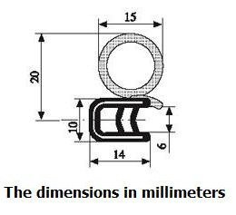 Trim Door Rubber Seal 15mm Diameter Bulb X 1-4mm Grip Range X 14mm U Height (100 Feet)