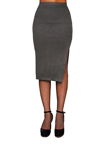 Tom's Ware Womens Casual Knit Knee Length Slit Pencil Skirts