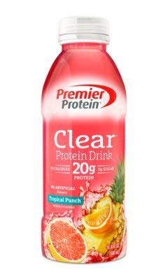 Premier Protein Clear Protein Drink Shake 16.9-oz. - Tropical Punch Flavor - 6 Ct. Bonus of 6 Individually Wrapped Straws