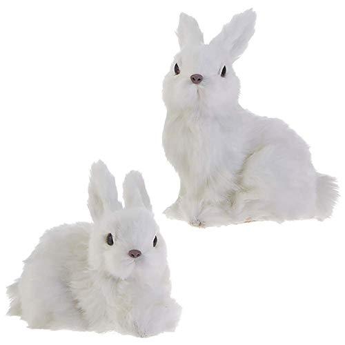 RAZ Imports Bunny Rabbit Figurines/Christmas Ornaments — Set of 2 Faux Fur Bunny Ornaments -