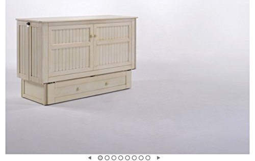 Night & Day Furniture MUR-CLV WH and MND-GMF-TRI-QEN Murphy Cabinet Bed with Mattress Queen White