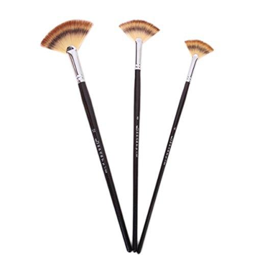Ultnice 3pcs pennelli in legno artista fan pennello set di pennelli per pittura ad olio vernice acrilica