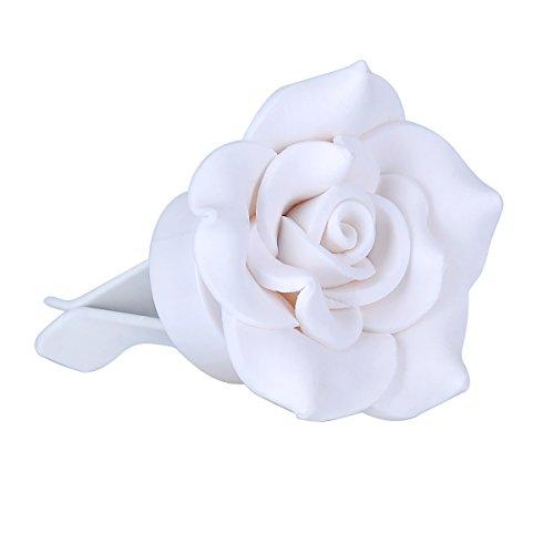 HooAMI Aromatherapy Car Essential Oil Diffuser Locket Clip - White Camellia Car Air Freshener,2 Fragrance (White Polymer Diffuser)
