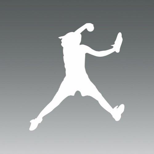 (2x) Softball Pitcher - White - Sticker - Decal - Die Cut (Softball Pitcher Car Decals compare prices)