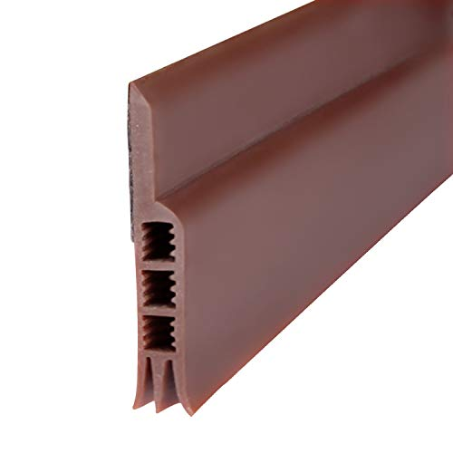 Door Sweep, Weather Stripping Under Door Draft Stopper Door Insulation Soundproof for Door Bottom Bugs Stopper,(Brown 2