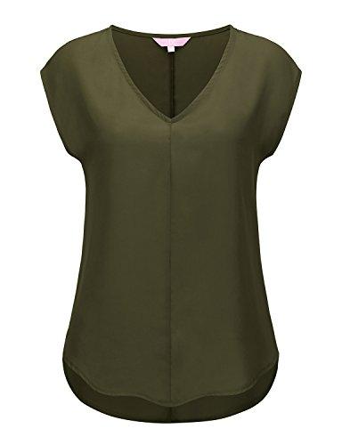 Regna X Womens Olive Green Low Cut Off Shoulder Sling Swing Half Sleeve Top