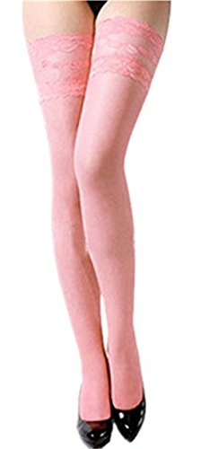 Women's Sexy Lace Top Sheer Thigh High Silk Stockings (Pink) (Pink Spandex Sheer Stockings)