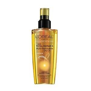 L'Oreal Paris Hair Expert Total Repair 5 Multi-Restorative Dry Oil, Lightweight dry oil, all hair types, 3.4 fl. oz. (Packaging May Vary)