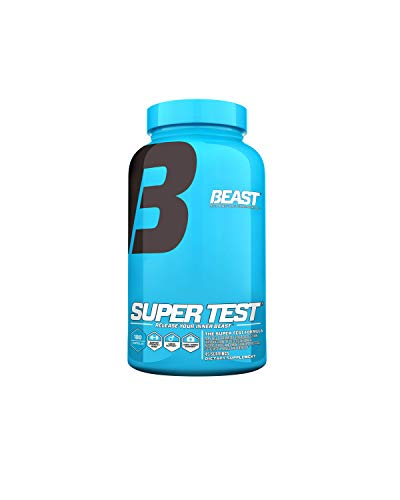 Super Test by Beast Sports Nutrition - Professional Strength, Natural Testosterone Booster Supplement with Nitric Oxide Support for Maximum Muscle Mass, Stamina, Strength, and Recovery, 180 Capsules
