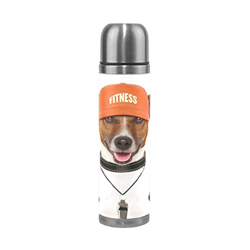 TSWEETHOME Vacuum Insulated Water Bottle Double Wall Stainless Steel Leak Proof Wide Mouth with Novelty Graphic Dog Holding Dumbbells Compact Bottle Beverage Bottle
