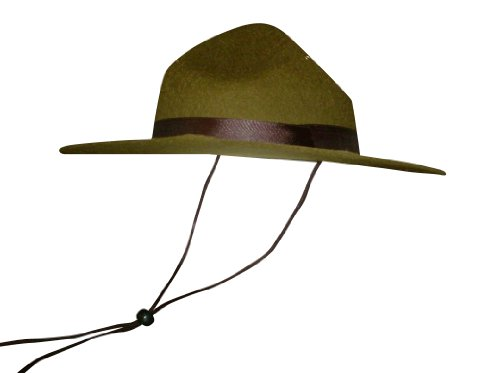 Olive Green Park Ranger/Mountie/ Smokey Bear Hat-One Size Fits Most (Forest Ranger Halloween Costume)