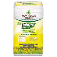 Marcal(R) Recycled Beverage Napkins, Single-Ply, Pack Of 500 (Marcal Beverage Napkin)